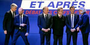 Lors du débat télévisé organisé par BFM-TV à Paris, le 20 mars.
