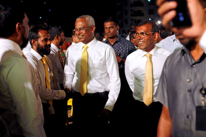 President of Maldives, Ibrahim Mohamed Solih, and Chancellor Mohamed Nasheed, meeting of the Campaign à Malé (Maldives), le 4 April 2019.