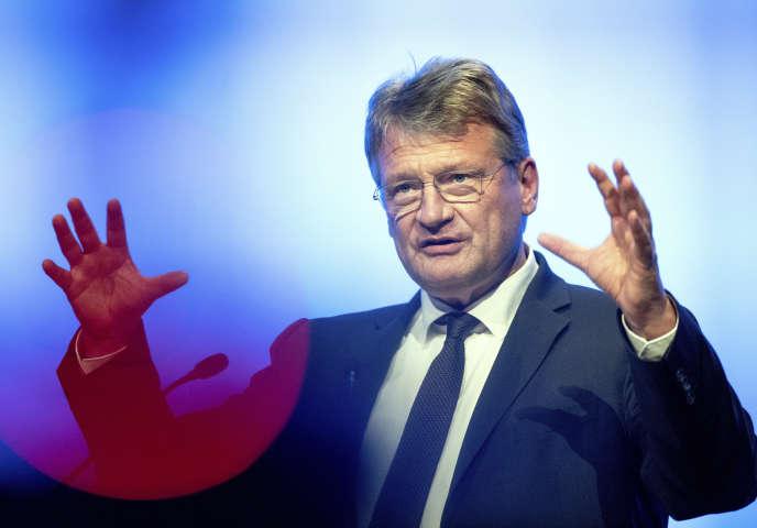 Jörg Meuthen, tête de liste de l'AfD pour les européennes,le 6 avril àOffenbourg.