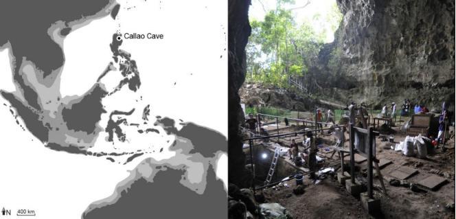 Localisation de la grotte de Callao aux Philippines. L'île de Luçon où elle est située n'a jamais été accessible à pied sec au cours des trois derniers millions d'années. La zone gris clair montre l'extension maximale des zones émergées. A droite, vue des fouilles en 2011.