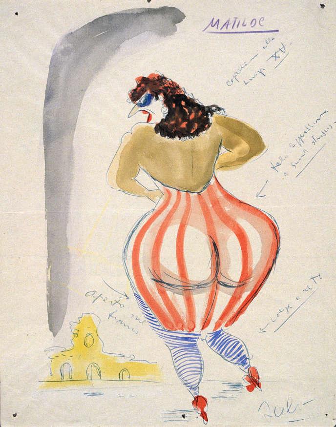 Maquette (aquarelle et stylo-bille sur papier) par Federico Fellini du costume de Matilda pour son film «Les Nuits de Cabiria» (1957) , inspirée de «Femme debout de dos» (1908), dePablo Picasso.
