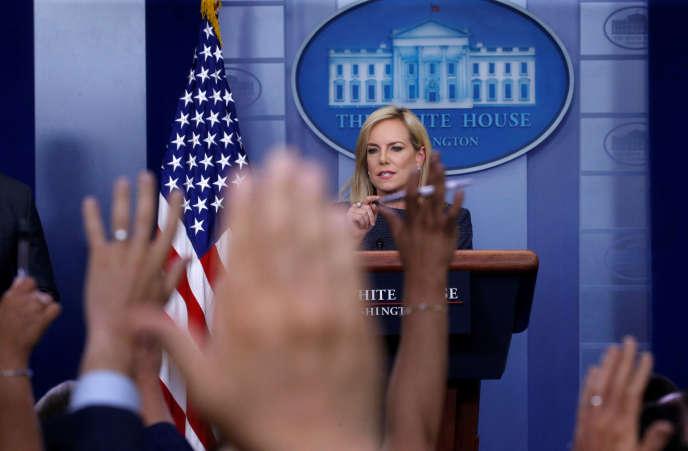 Kirstjen Nielsen, le 18 juin 2018, lors d'une session de questions-réponses à la Maison Blanche.
