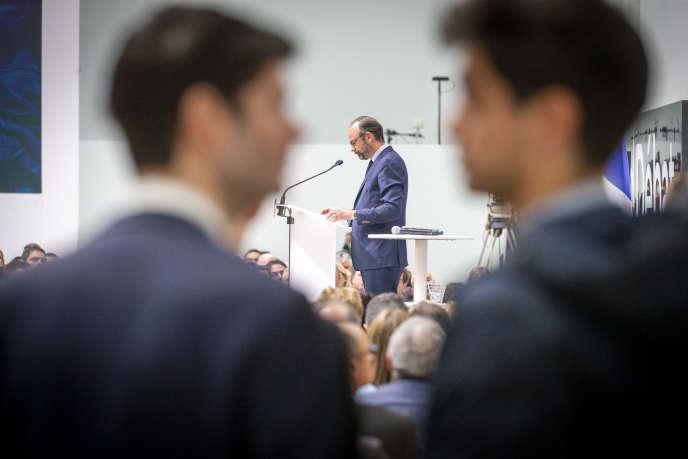 Edouard Philippe, premier ministre, prononce un discours lors de la « restitution» du grand débat national, au Grand Palais, à Paris.