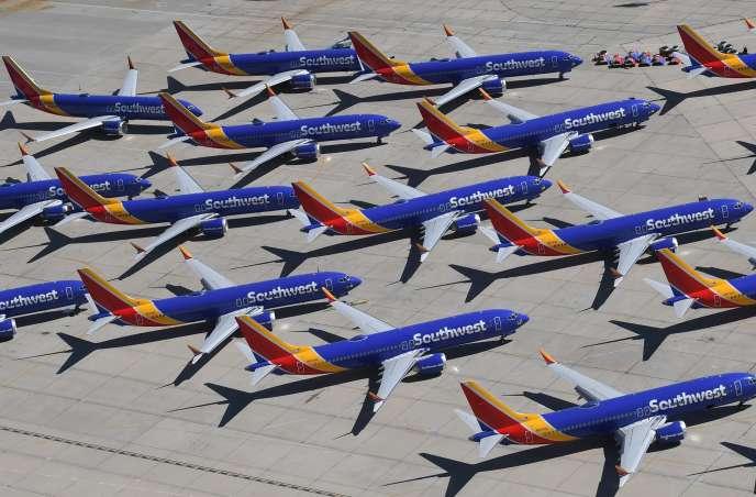 Des Boeing 737 MAX de la compagnie américain Southwest Airlines, à Victorville, en Californie, le 28 mars.