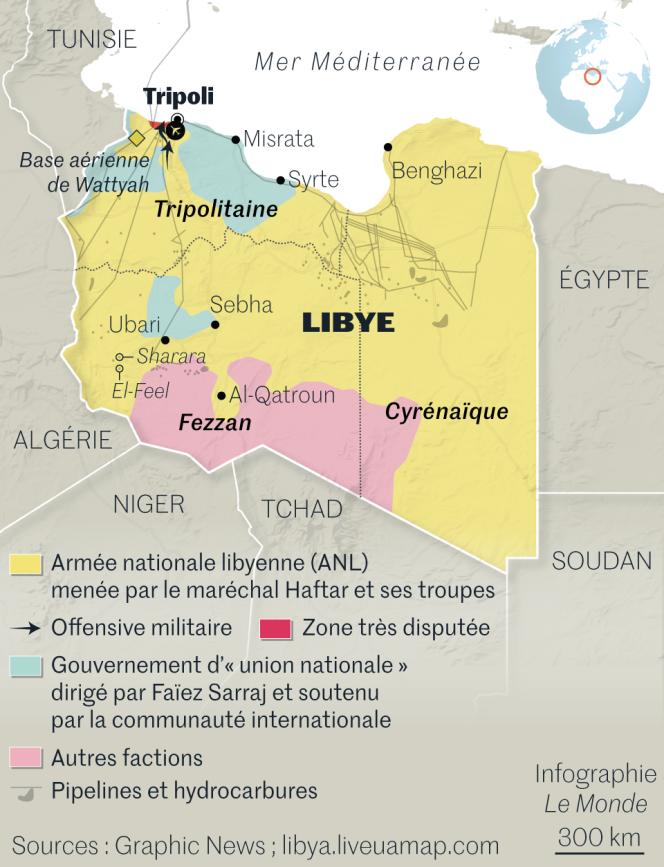Carte de situation de la Libye.