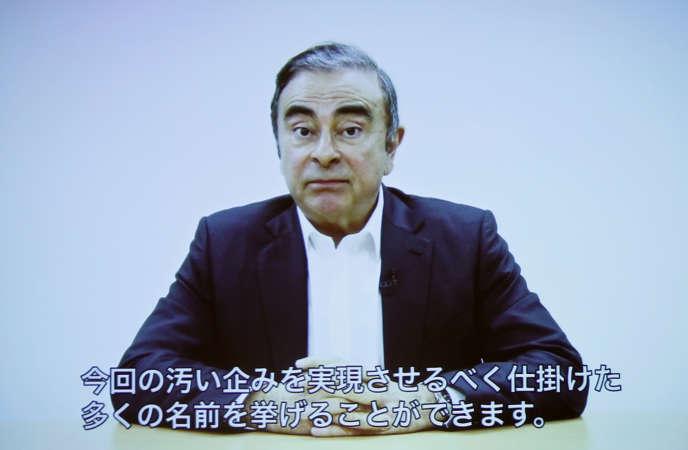 Carlos Ghosn dans une vidéo enregistrée et diffusée mardi 9 avril.