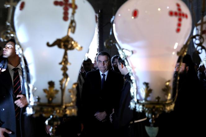 Le président brésilien Jair Bolsonaro en visite dans la vieille ville de Jérusalem, le 1er avril 2019.