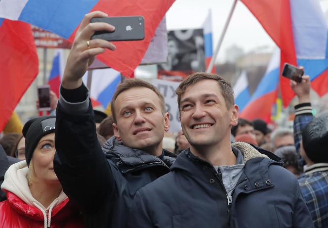Les frères russes Alexeï et Oleg Navalny, à Moscou, en février.