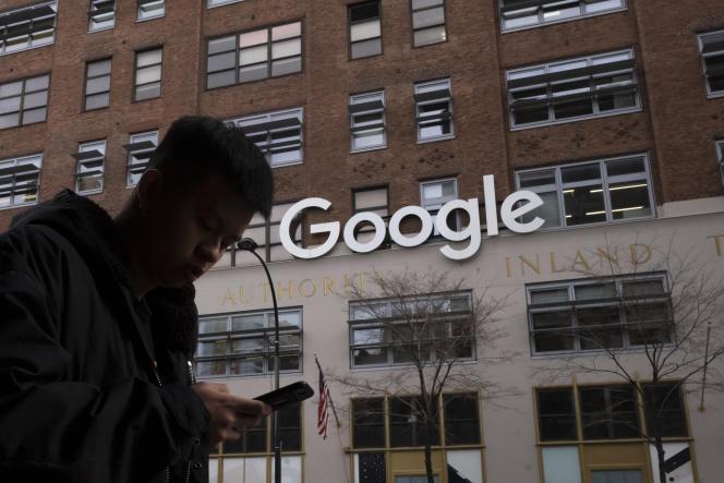 Devant les bureaux de Google à New York (Etats-Unis), le 17 décembre 2018.