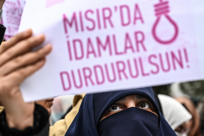 Manifestation contre la peine de mort en Egypte devant le consulat égyptien à Istanbul (Turquie), en mars2019.