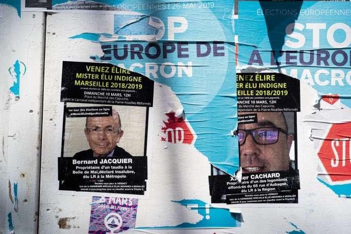 Des affiches posées sur la Canebière par le Collectif du 5 novembre invitent à élire« Mister élu indigne ».