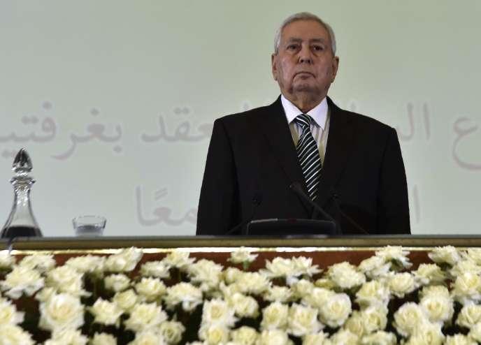 Abdelkader Bensalah, le 9 avril, au Conseil de la nation à Alger.