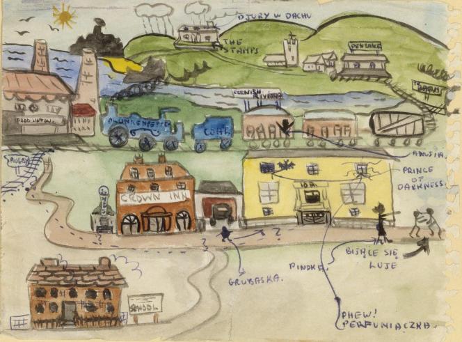 Dessin du «Retour à la maison et à l'école» (entre 1942 et 1944), par les enfants d'Izieu [anonyme].