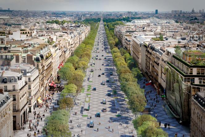 Une image de synthèse présente le projet de transformation des Champs-Elysées par l'architecte Philippe Chiambaretta.