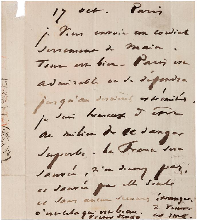 Contenu de la lettre de Victor Hugo transportée par le« Victor-Hugo»:« Paris est admirable on se défendra jusqu'aux dernières extrémités. Je suis heureux d'être au milieu de ce danger superbe. La France sera sauvée, n'en doutez pas et sauvée par elle seule ce sans aucun secours étranger ... »