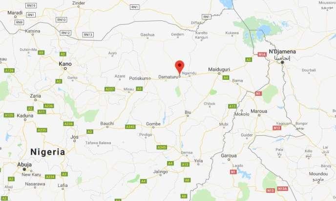 La ville de Damaturu est située dans l'Etat de Yobe, dans le nord-est du Nigeria.