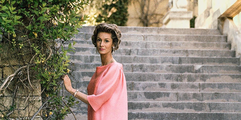 FRANCE. Villefranche sur Mer, Alpes Maritimes department. 1963. Donna Marella AGNELLI (wearing a dress designed by Balenciaga), wife of Giovanni AGNELLI, Italian director of Fiat, at the Villa Leopolda.