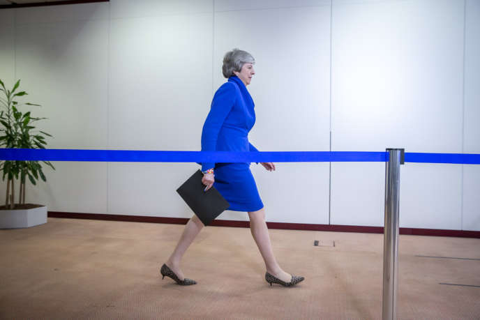 Theresa May, première ministre britannique, le 10 avril à Bruxelles.