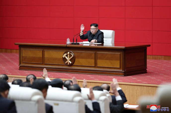 Le dirigeant nord-coréen Kim Jong-un lors du congrès du Parti des travailleurs à Pyongyang, le 10 avril.