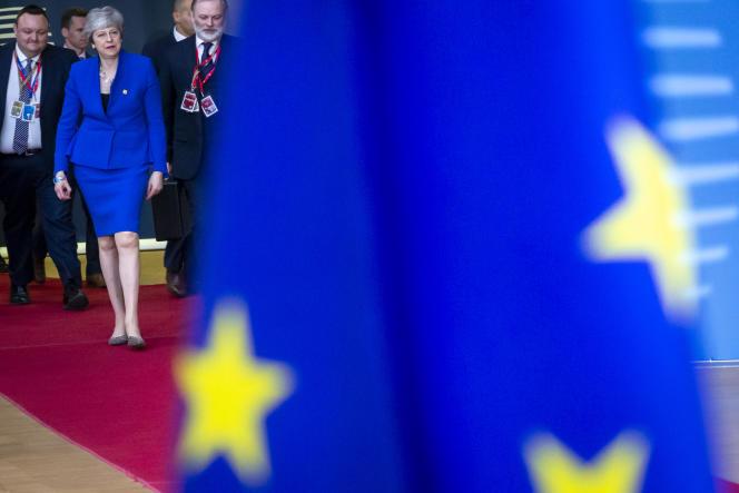 La première ministre britannique, Theresa May, le 10 avril au Conseil européen à Bruxelles.