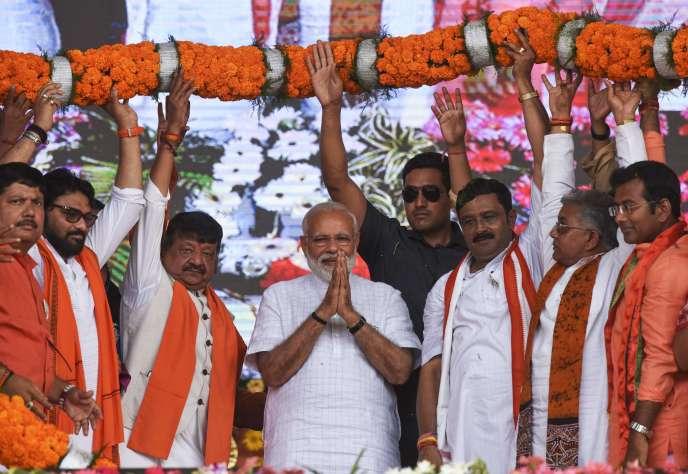 Le premier ministre indien Narendra Modi lors d'un meeting de campagne le 3 avril àCalcutta.