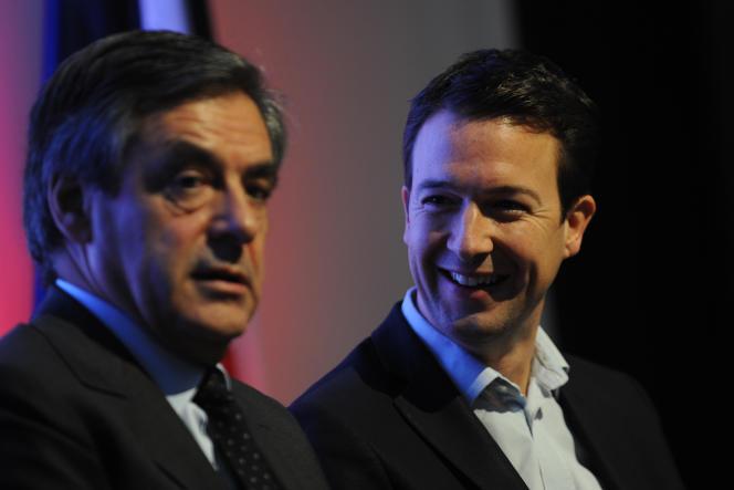 François Fillon et Guillaume Peltier, en 2015, lors d'un meeting àOlivet, dans le Loiret.