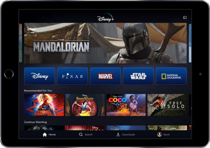 Image fournie par Disney montrant la plate-forme Disney+ sur une tablette.