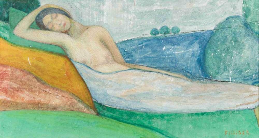 «A son retour de Pont-Aven où il a côtoyé Gauguin en 1888, Filiger adopte la technique synthétiste au service d'œuvres aux thèmes symbolistes. Il utilisera cette gouache pour l'illustration du livre L'Idéalisme de Remy de Gourmont».