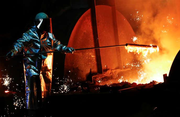 Dans la sidérurgie de Duisburg, en Allemagne, qui appartient au groupeThyssenKrupp AG, le 1er février.