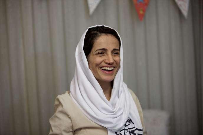Nasrin Sotoudeh, à Téhéran, en 2013, à sa libération, après trois ans d'emprisonnement.