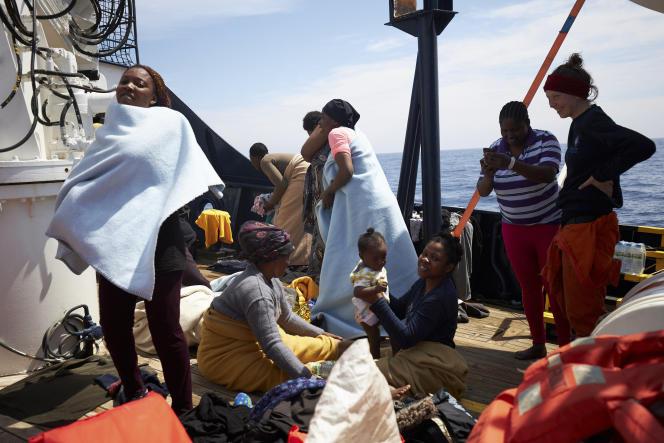 Sur le navire de secours «Sea-Watch», le 3 avril 2019.
