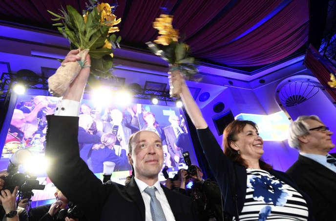 Le chef de file du parti d'extrême droite des Vrais Finlandais, Jussi Halla-aho, le 13 avril à Helsinki.