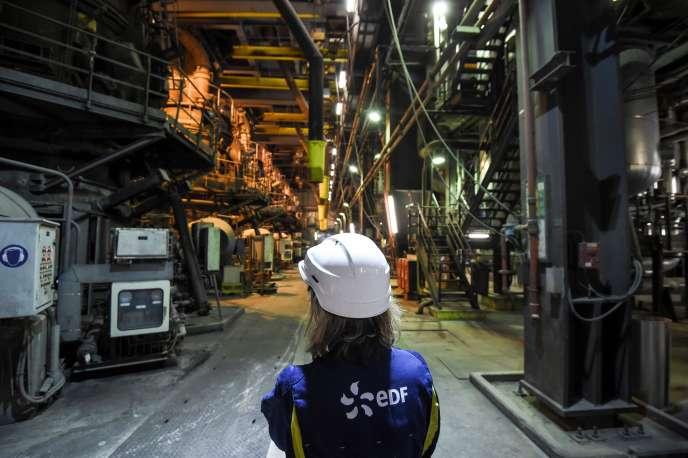 Une employée du groupe EDF sur le site de la centrale au charbon de Cordemais (Loire-Atlantique), le 21 mars.