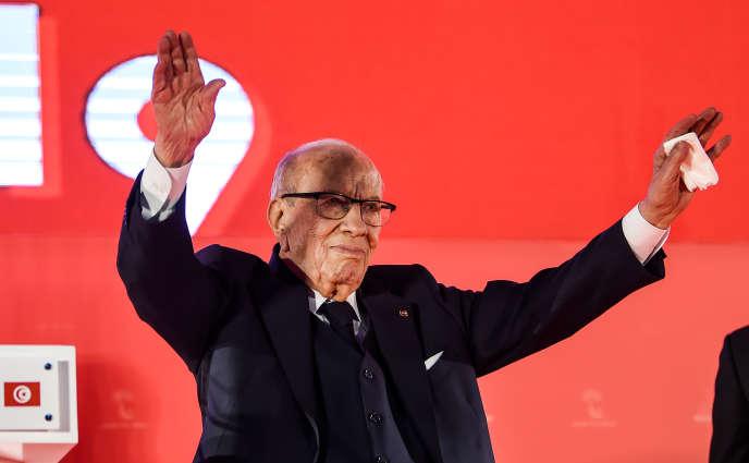 Le président tunisien Béji Caïd Essebsi, lors du congrès du parti Nidaa Tounès, à Monastir, le 6 avril 2019.