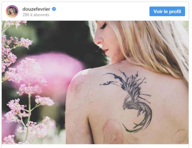 Sur cette photo postée sur son compte Instagram, Julie affiche le phénix qu'elle s'est fait tatouer, symbole de sa renaissance.