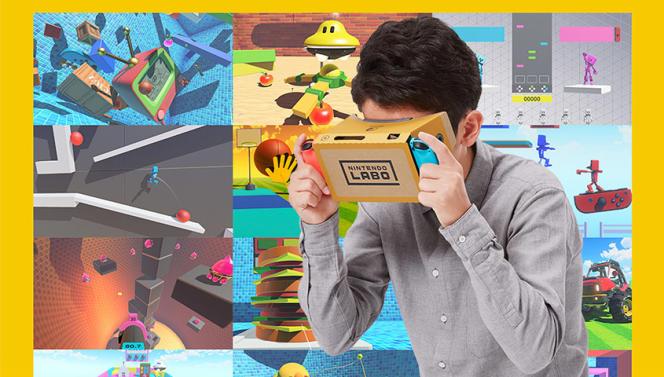 Nintendo Labo Kit VR propose plusieurs dizaines de minijeux en VR (enfant vendu séparément).