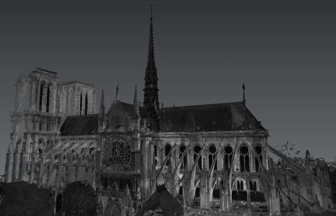 Reconstitution en 3D de Notre-Dame de Paris grâce à des scanners laser.