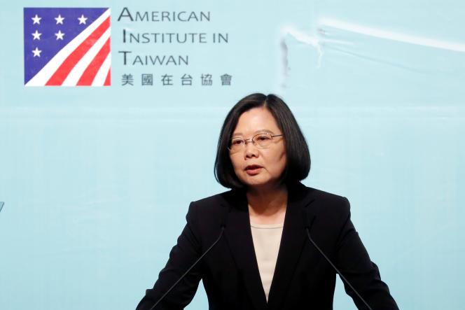 Tsai Ing-wen, la présidente taïwanaise, pendant un discours prononcé à l'occasion du 40e anniversaire du« Taiwan Relations Act», à Taipei, le 16 avril.