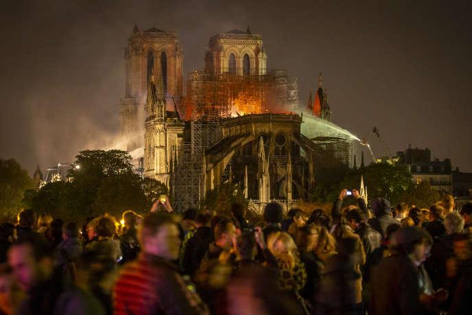 Incendie de la cathédrale Notre-Dame de Paris, lundi 15 avril 2019.