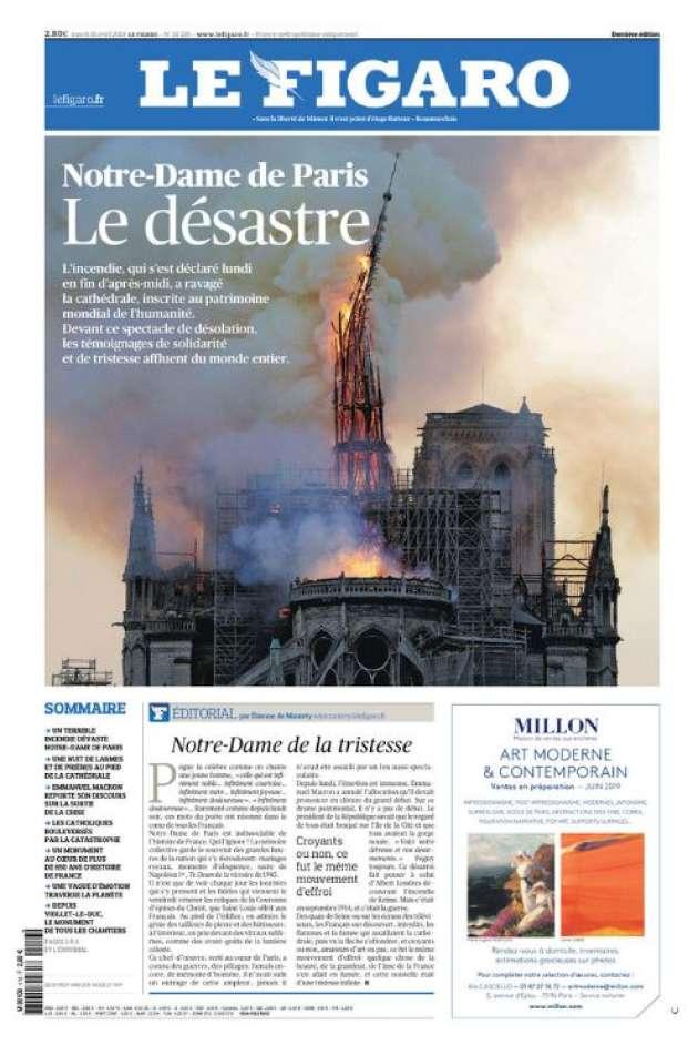 « Notre-Dame de Paris, le désastre», la« une» du« Figaro», le 16 avril 2019.