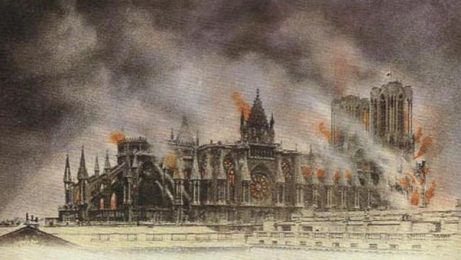 Carte postale de 1914 représentant la cathédrale de Reims en proie aux flammes.