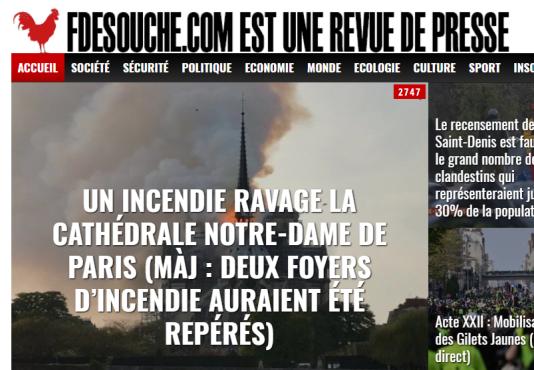 Capture d'écran de la page d'accueil de Fdesouche.com mardi 16 avril à 9 heures.