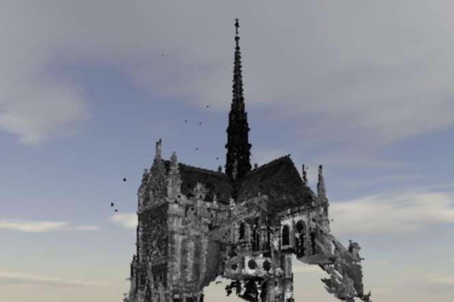 L'usage d'un scanneur-laser permet de reconstituer un nuage de points ayant la forme de la cathédrale.