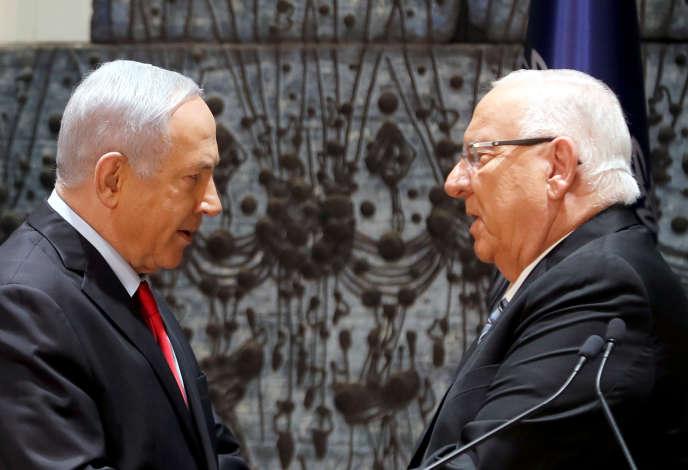 Benyamin Nétanyahou et le président israélien, Réouven Rivlin, à Jérusalem, le 17 avril.