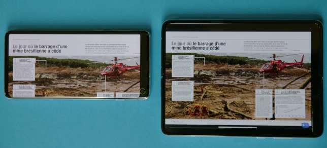 Une double page de magazine sur le Samsung S10 (à gauche) et sur le Fold.