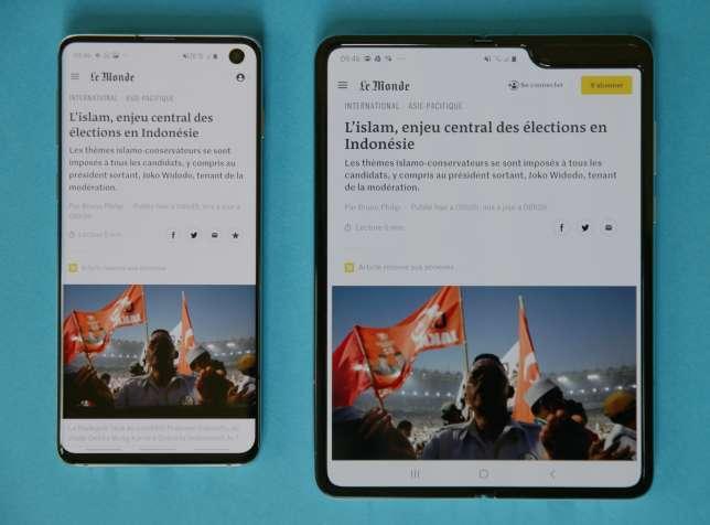 Un article du «Monde» sur le Samsung S10 (à gauche) et sur le Fold.