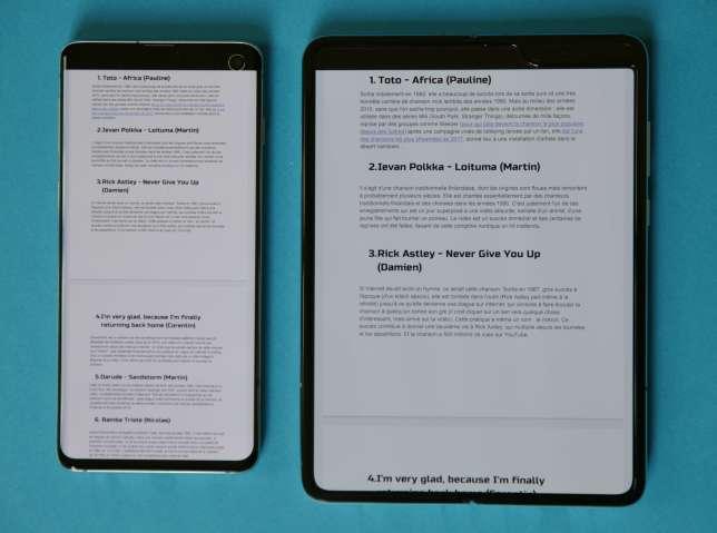 Un document texte A4 sur le Samsung S10 (à gauche) et sur le Fold.