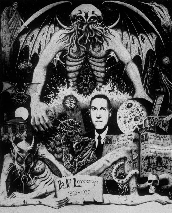 H. P. Lovecraft en compagnie de ses créations monstrueuses.