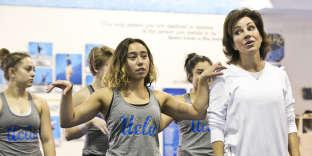Katelyn Ohashi et sa coach Valorie Kondos Field, le 11 avril 2019.