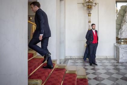 Emmanuel Macron après une réunion sur la reconstruction de la cathédrale Notre-Dame de Paris, ici au palais de l'Elysée, le 17 avril.